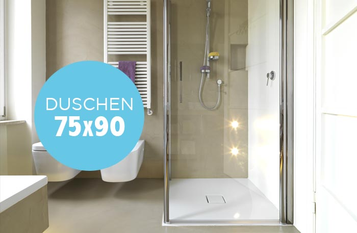 Duschkabine 75x90 - Schmale rechteckige Dusche 90x75 cm